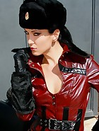 Military bitch fingers outdoors