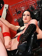 Punished and fucked latex slave