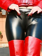 Sexy in shiny leggings and leather