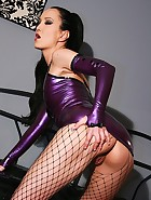 Sexy masturbation in purple latex