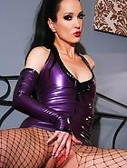 Sexy masturbation in purple latex