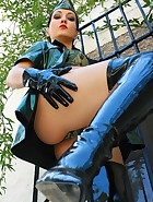 Military girl in sexy PVC uniform