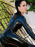Shiny and sexy black latex catsuit