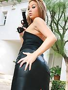 Killer asian babe wanks in leather