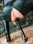 Bad ass biker babe shows pink.