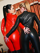 Horny lesbians in leather catsuits