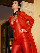 Fully clothed in fiery red leather