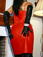 Lady in leather boots and gloves
