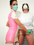 Sadistic nurse Bellatrix in latex