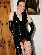 Classic latex clad Mistress teases