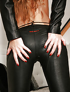Snow Angel in tight leather pants
