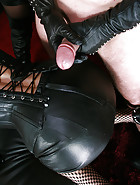 Triple leather enforced handjob