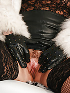 Fur and leather handjob