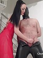 Handjob by leather Goddess