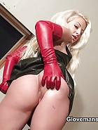 Anastasia's leather handjob