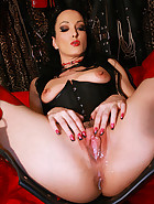Creampie on the leather sex swing, pic #13