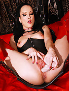 Creampie on the leather sex swing, pic #7