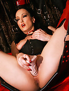 Creampie on the leather sex swing, pic #10