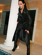 Dripping wet in black leather coat, pic #2