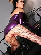 Sexy masturbation in purple latex, pic #11