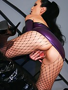 Sexy masturbation in purple latex, pic #12