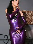 Sexy masturbation in purple latex, pic #4