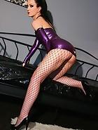 Sexy masturbation in purple latex, pic #8