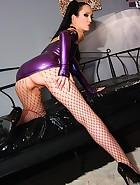 Sexy masturbation in purple latex, pic #10