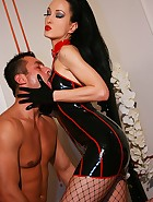 Sexy latex Domme uses sex slave, pic #5
