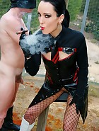 Cigar smoking Mistress uses slave, pic #9