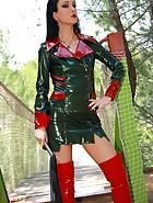 Mistress in glossy plastic outfit, pic #1