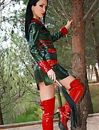 Mistress in glossy plastic outfit, pic #8