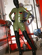 Masturbation in latex catsuit, pic #1