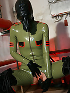 Masturbation in latex catsuit, pic #14
