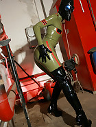 Masturbation in latex catsuit, pic #4