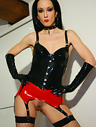 Sexy black and red latex lingerie, pic #3