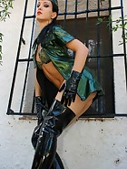 Military girl in sexy PVC uniform, pic #10