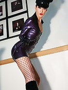 Hot military babe flashes in latex, pic #5