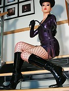 Hot military babe flashes in latex, pic #8