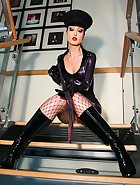 Hot military babe flashes in latex, pic #9