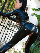 Shiny and sexy black latex catsuit, pic #11