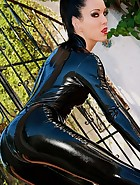 Shiny and sexy black latex catsuit, pic #6