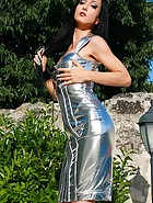 Seduction in a silver PVC dress, pic #4