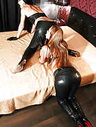 Lesbian tease in leather trousers, pic #10