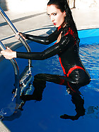 Wet games in shiny black latex, pic #6