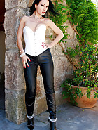 Outdoors in tight leather pants, pic #1