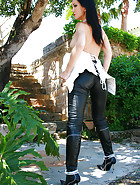 Outdoors in tight leather pants, pic #14