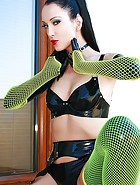 Kinky in black latex and fishnets, pic #11