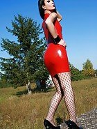 Latex and fishnets tease, pic #1